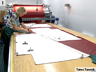 Prepairing fabric for assembly.