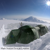 Two Atlas with Vestibules attached using a Connector at high camp on Denali.
