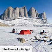 Keron on snow in the Baffin Fjords, Canada