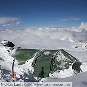 A Nammatj GT buried in snow at 4,100 meters on Mt Elbrus.