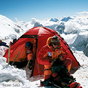 A Staika on Cho Oyu, a mountain in the Himalayas.