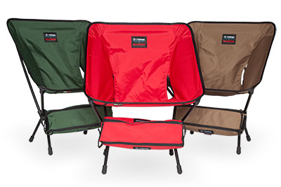 Hilleberg edition Helinox chairs. Available in red, green, and sand.