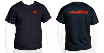Front: Styleized Keron. Back: Hilleberg Logo in red