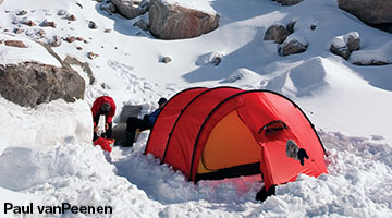 In less extreme conditions dig a shallower pitching area and pile snow loosely against the bottom of the walls of the tent. & Practical tips for using your Hilleberg tent