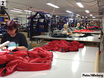 Making tents on the factory floor.