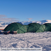Three Atlas tents linked with the optional connector, shown here on Baffin Island in Canada.