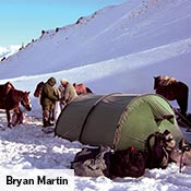 A Keron provides a base for Bryan Martin, his team, and horses while hunting in the snowy mountains of Kyrgyzstan.