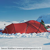 A Saitaris provides a base for Simon Walthert and his companions during a 38 day ski trip across Spitsbergen.