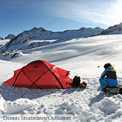 The Saivo is an ideal choice for ski mountaineering in the Alps which, by definition, involves exposed terrain and challenging, unpredictable weather. The Stubai Alps, Austria.