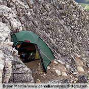 Because it is truly free standing — and offers two entrances and two integrated vestibules — a Staika is the ultimate choice for rocky, exposed camp sites. Here Bryan Martin uses is on a small rock ledge.