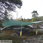 The Tarp 20 is ideal on canoe trips, where it can be set up in a variety of ways to serve as the group gathering spot.